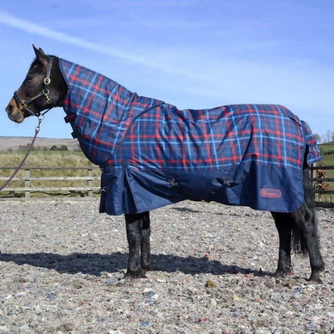 R121A Follifoot 200g Checked Turnout Rug with hood