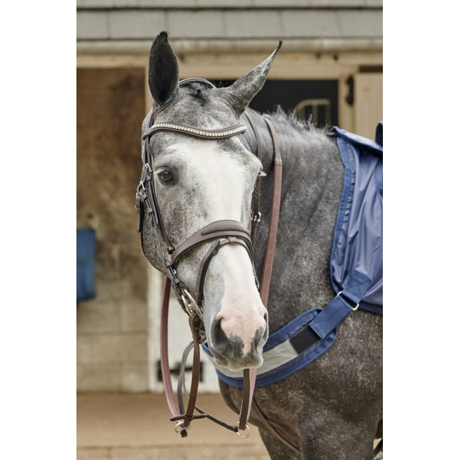 BR071 - Chicago Perforated Leather Bridle with Bling Browband