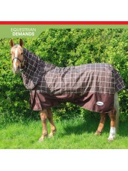 R059B 1200D Chiserley 200g Checked Turnout Rug with hood in Brown