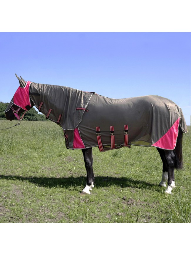 W-Horse Fly Rug with Hood and Mask in Graphite and Cerise